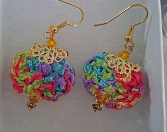 Exquisite, rainbow colored handknit fiber and Swarovski crystal dangle earrings