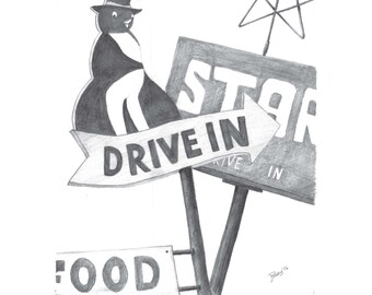 Local Flavor Diner Signs signed limited edition art print UNFRAMED