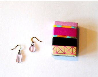 Gift Boxed Jewelry / Gift Boxed Earrings / Geometric Acrylic Lavender Asymmetrical Earrings in a Washi Tape Decorated Matchbox