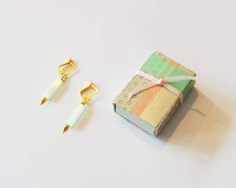Gift Box Earrings / Light Green Earrings In Jewel Box / Handmade Gold Light Green Earrings in Matchbox Jewelry Gift Box w/ Washi Tape Deco