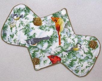"9.25"" Regular - Winter Birds - Reusable Cloth Menstrual Pad (9MC)"
