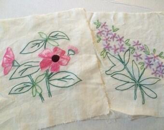 Vintage Embroidered Floral Pieces, Set of 2, Roses & Violets, Cotton