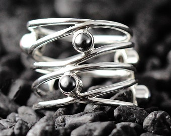 Dainty Black Pearl Ring Womens 925 Sterling Silver Freshwater Pearls