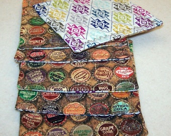 Vintage bottle cap fabric coasters set of 6