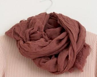 NEW Large Soft Merino Wool Scarf Shawl Naturally Dyed Dark Pink Brown