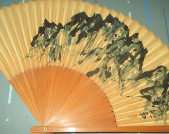 Vintage Japanese Mountain Range Bamboo and Paper Hand Fan