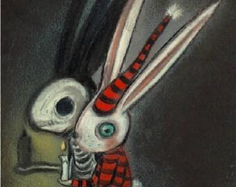 Candlelight Creep Original Illustration Pastel Skeleton Bunny Art Shadow Cute Creepy