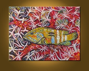 Pele's Fish -- 18 x 24 inch Original Oil Painting by Elizabeth Graf on Etsy -- Art Painting, Art & Collectibles