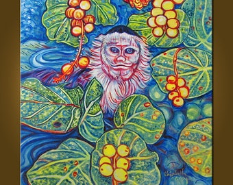 Spy Monkey -- 24 x 24 inch Original Oil Painting by Elizabeth Graf -- Art Painting, Art & Collectibles