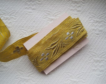 Vintage Trim Metallic Gold and Silver Vestment Trim Embossed Embroidered 2 Yards