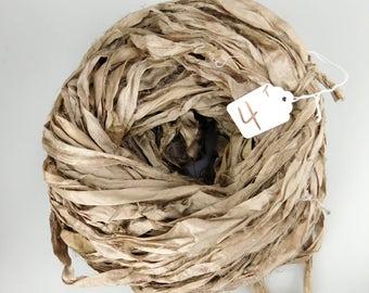 Recycled Silk Sari Ribbon, Silk sari ribbon, sari silk ribbon, Taupe sari ribbon, Taupe ribbon, rug supply, weaving supply, knitting supply