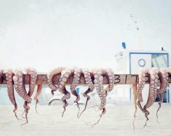 "Beach ocean photography print, octopus photograph Greece travel wall art sea nautical kitchen art ""Drying Octopus"""