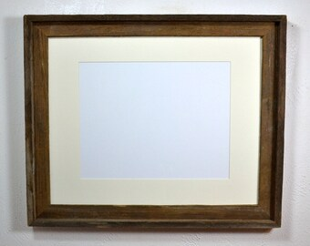 Reclaimed wood poster frame with mat for 11x17 ,12x18,11x14 or 12x16 ready to ship