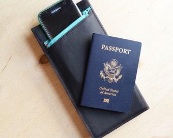 Travel Passport Wallet, Graduation Gift, Womens Leather Wallet, Passport Holder, Travel Organizer - The Stella Travel Wallet in Black