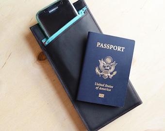 Travel Wallet, Womens Leather Wallet, Passport Holder, Gift for Her, Travel Organizer - The Stella Travel Wallet Clutch in Black