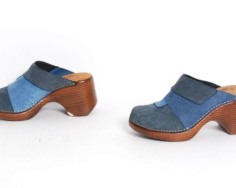 size 6 PATCHWORK blue jean 90s DENIM slip on platform CLOGS mules
