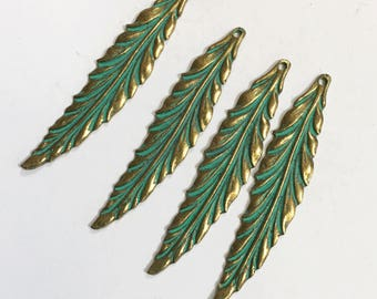 Bulk 30 pcs of Antique Brass long leaf pendant 55x12mm, bluing leaf pendant, Verdigris Patina