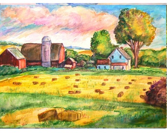 The HOME FARM -11x15 original painting landscape watercolor ooak from GHART, Watercolor, Painting, Signed, Dated, Farm, Barn, Rural, Fields