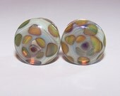 1/2 inch multi color design glass plugs double flared pair