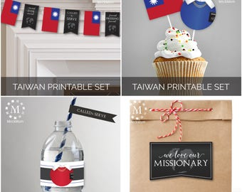 INSTANT DOWNLOAD - TAIWAN -  Missionary Farewell Welcome Home Decoration Printable Set for Sisters