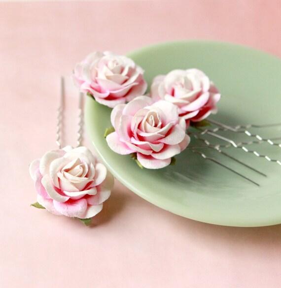 Pink rose hair pins, Floral hair clip set, Pink flower pins, Bridal hair, Pink rose bridal headpiece - SET of 4 pins