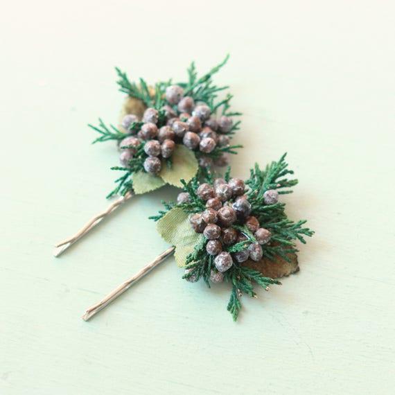 Juniper berry hair clip, Rustic wedding accessory, Winter wedding, Bridal hair pins, Woodland hair clips, Natural bridal hair, Holiday