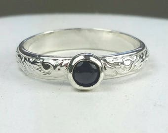 Blue Sapphire Ring, Sterling Silver Pattern Ring, Natural Sapphire Gemstone, September Birthstone Ring, Size 7.5 Ring Maggie McMane Designs