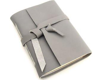 ON SALE! Artist's Gift Grey Leather Journal, Handmade Sketchbook, Artisan Journal, Unique Sketchbook, Gift for Artists, Gifts Under 30