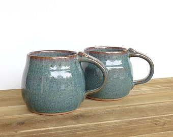 Wedding Registry for Alex and John - Stoneware Pottery Mugs in Sea Mist Glaze - Set of 2, Made To Order