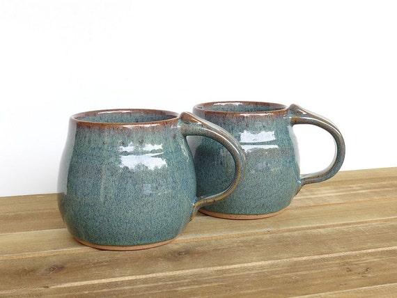 Stoneware Ceramic Pottery Mugs - Sea Mist - Set of 2