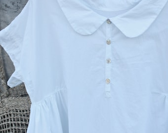 White Cotton Dress with Peter Pan Collar