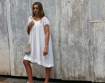 Cream Linen Peasant Dress