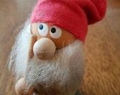 """Vintage 4"""" Wooden Elf Tomten Nisse"""