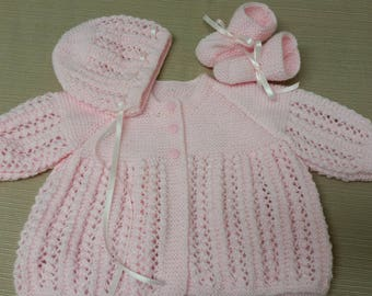Baby Sweater Set, Hand Knitted Sweater Bonnet Booties, Baby Girl, 3-6 months Pink, Reborn Doll, Baby Shower Gift, Christening, Baptism