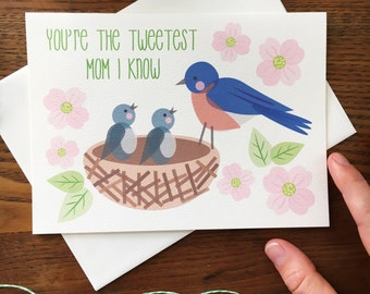 Card For Mom. Mother's Day Card. Bird's Nest. Bird Pun Card.  Bird Card. For Grandma. Baby Bird Card. Blank Card. Mama Bird. Dogwood Flowers