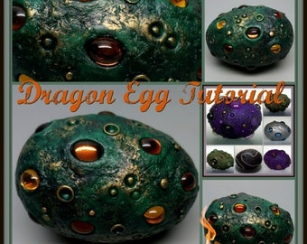 Spring Sale Dragon Egg,  A Polymer Clay PDF Tutorial, Decorated Egg Paperweight