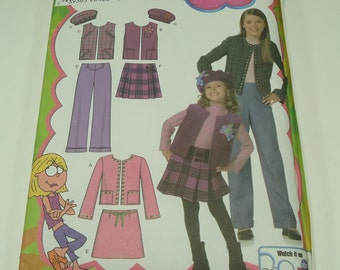 Simplicity Child's And Girls' Jacket Or Vest, Pants, Skirt And Hat Pattern 4895 Size 7,8,10,12, 14  Hat Comes In Three Sizes