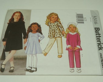 Butterick Children's/Girls'  Top, Dress And Pants Pattern 3316 Size 6, 7, 8 Fast And Easy