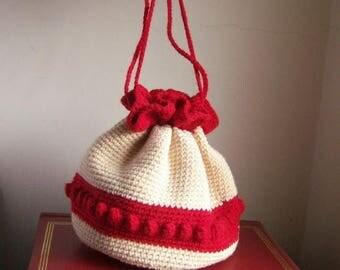 40% MOVING SALE Vintage crochet pouch purse / Valentine date purse / red and ivory, popcorn stitch, pom poms