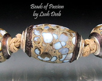 BHB Glass Beads of Passion Leah Deeb - 3pc Earthy Organic Rock Big Hole Capped