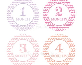 Baby Month Stickers Baby Girl Growth Decals Monthly Baby Stickers Baby Shirt Stickers Baby Shower Gift Pink Purple Peach Decals
