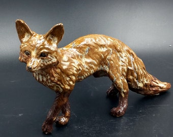 Big Stoneware Fox - red fox sculpture - original art