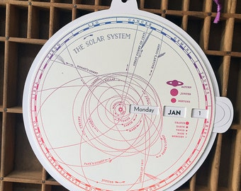 letterpress solar system perpetual calendar