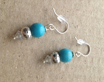 Turquoise Round Dangle Earring Sterling Silver EarWires, Clip-On or Posts