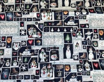 1 Yard of Blue and White Snowman/Snowmen Print Cotton Fabric
