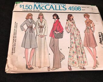 Vintage McCall's #4598 Pattern for Misses Size 12 Dress or Top and Pants
