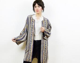 Tribal print kimono, boho kimono, reworked shirt, 90s grunge, tribal print shirt, 90s grunge shirt, short kimono, kimono jacket, festival