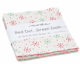 SALE 5 inch charm pack RED DoT GREEN DaSH Moda Fabric by Me & My Sister Designs