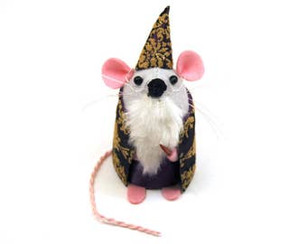 Dumbledore Mouse - collectable Harry Potter art rat artists mice cute soft sculpture toy stuffed plush gift for bookworm - Dumble Dormouse