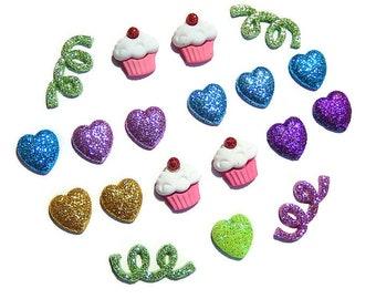 Glitter Cabochon Mix, Deco DIY Supplies, Cupcake Cabochon, Heart Cabochons